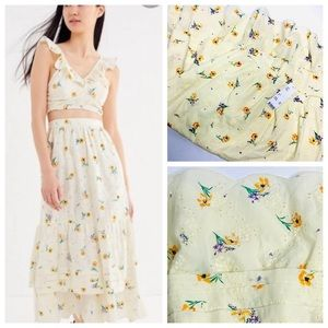 NWT Sweet Yellow Spring Eyelet Maxi Skirt M